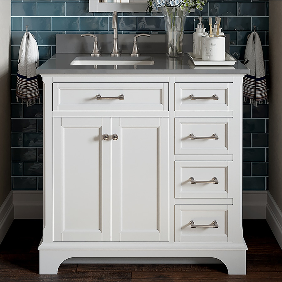Allen Roth Roveland White Undermount Single Sink Bathroom Vanity With Engineered Stone Top Common