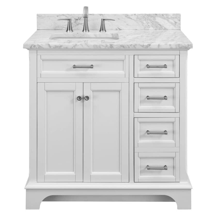 Elegant Allen + Roth Roveland White Undermount Single Sink Bathroom Vanity With  Natural Marble Top (Common