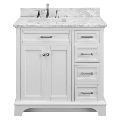 Roveland 36 In White Single Sink Bathroom Vanity With Natural Carrara Marble Top