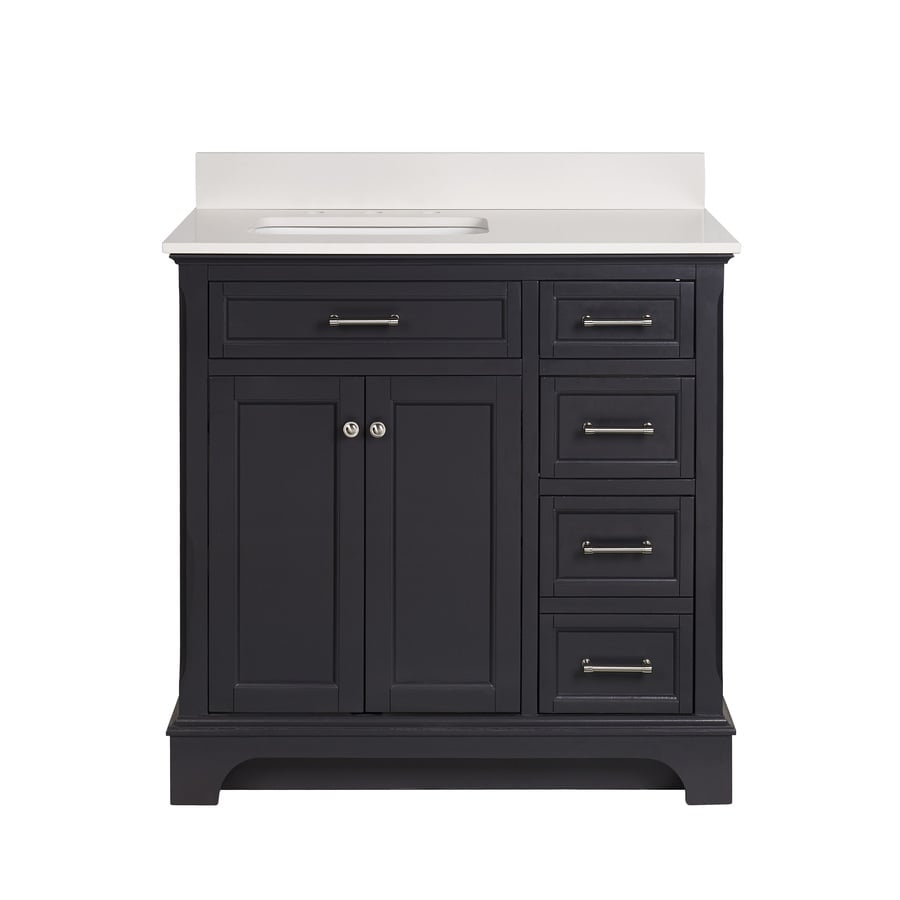 Light Gray Granite Vanity Top : Shop allen + roth Roveland Gray Undermount Single Sink Bathroom Vanity with Engineered Stone Top ...
