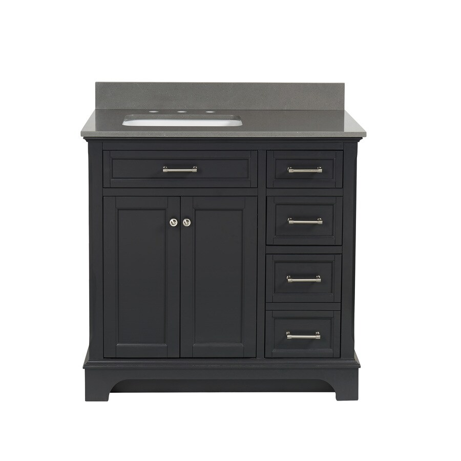 allen + roth Roveland Gray Undermount Single Sink Bathroom Vanity with Engineered Stone Top (Common: 36-in x 22-in; Actual: 36-in x 22-in)