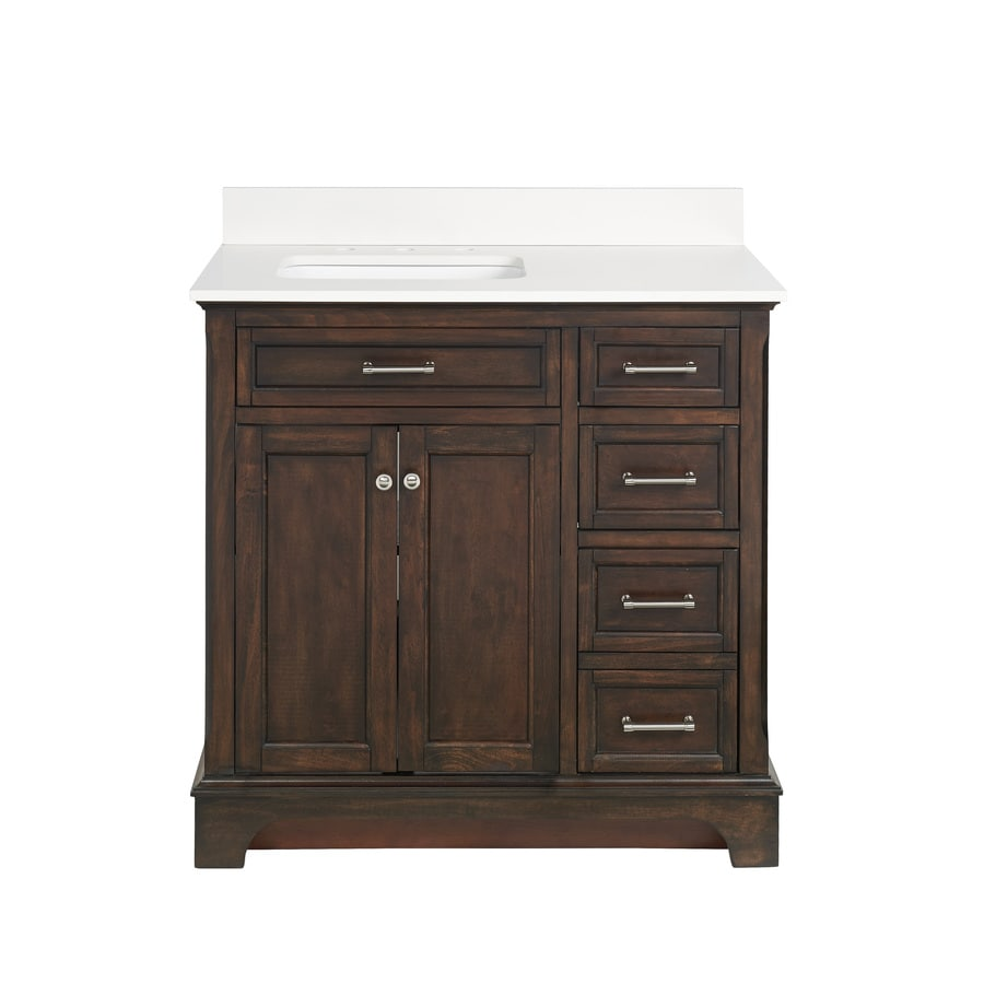 allen + roth Roveland Mahogany Undermount Single Sink Bathroom Vanity with Engineered Stone Top (Common: 36-in x 22-in; Actual: 36-in x 22-in)