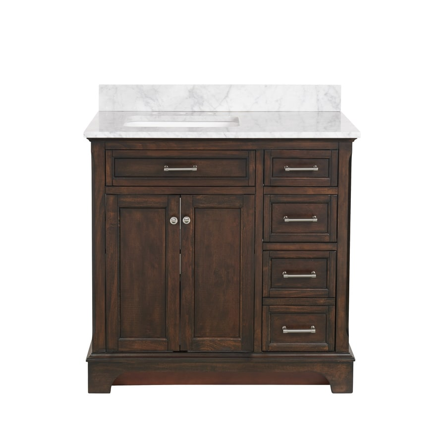 allen + roth Roveland Mahogany Undermount Single Sink Bathroom Vanity with Natural Marble Top (Common: 36-in x 22-in; Actual: 36-in x 22-in)