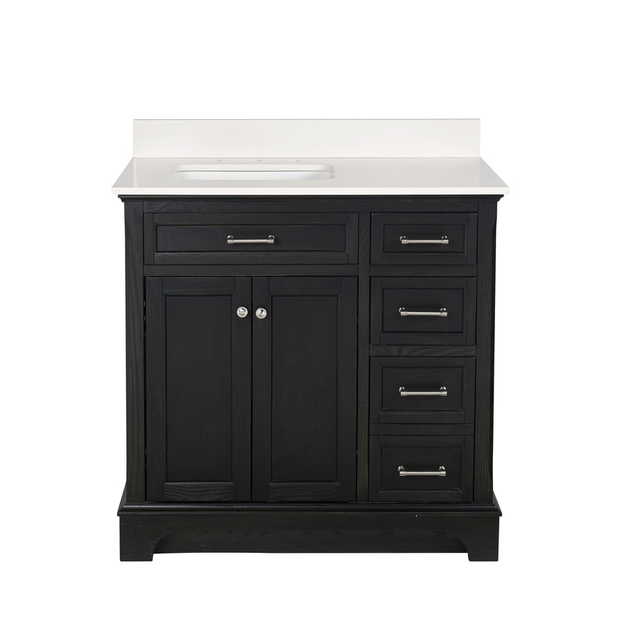 allen + roth Roveland Black Oak Undermount Single Sink Bathroom Vanity with Engineered Stone Top (Common: 36-in x 22-in; Actual: 36-in x 22-in)