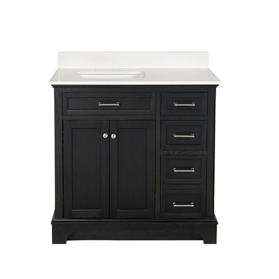 allen + roth Roveland Black Oak (Common: 36-in x 22-in) Undermount Single Sink Birch/Poplar Bathroom Vanity with Engineered Stone Top (Actual: 36-in x 22-in)