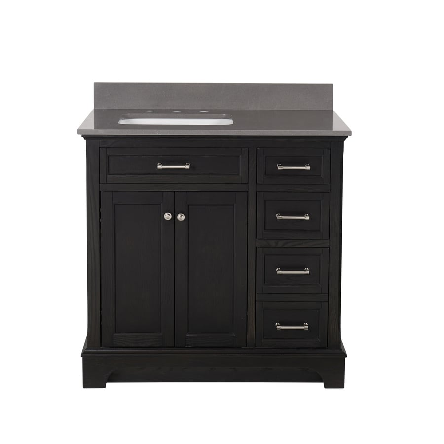 allen + roth Roveland Black Oak (Common: 36-in x 22-in) Undermount Single Sink Birch/Poplar Bathroom Vanity with Engineered Stone Top (Actual: 36-in x 22-in)