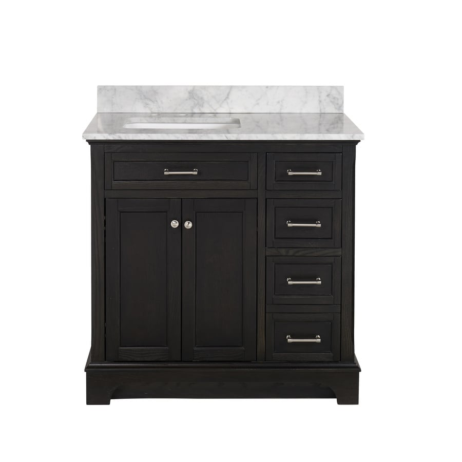 allen + roth Roveland Black Oak Undermount Single Sink Bathroom Vanity with Natural Marble Top (Common: 36-in x 22-in; Actual: 36-in x 22-in)
