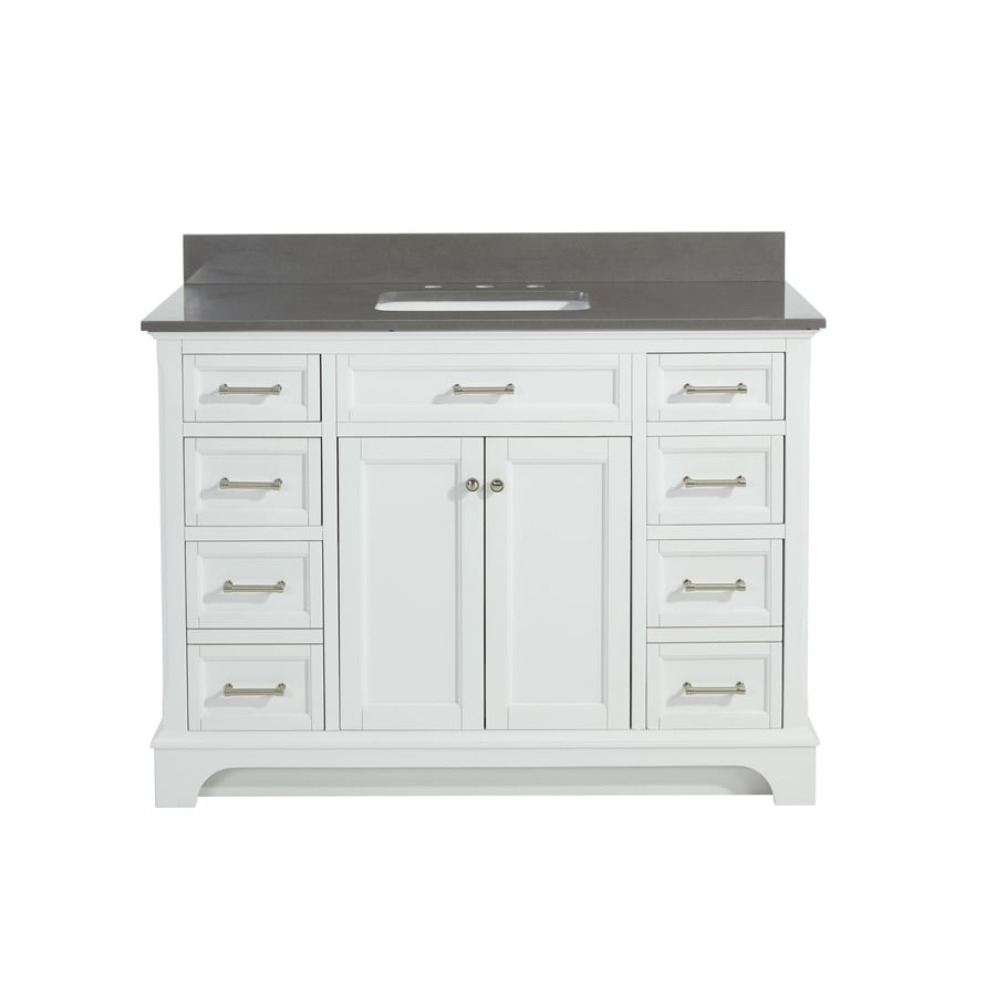 allen + roth Roveland White Undermount Single Sink Bathroom Vanity with Engineered Stone Top (Common: 48-in x 22-in; Actual: 48-in x 22-in)