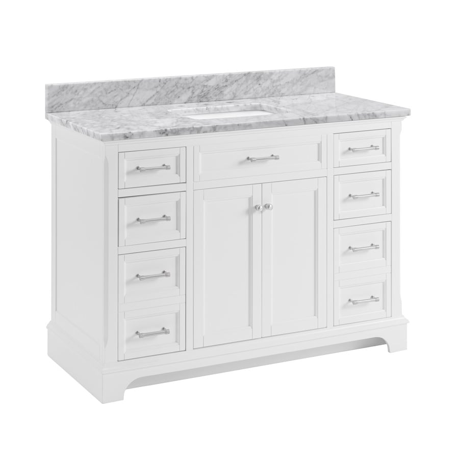Shop allen roth roveland white undermount single sink for Bath vanities with tops