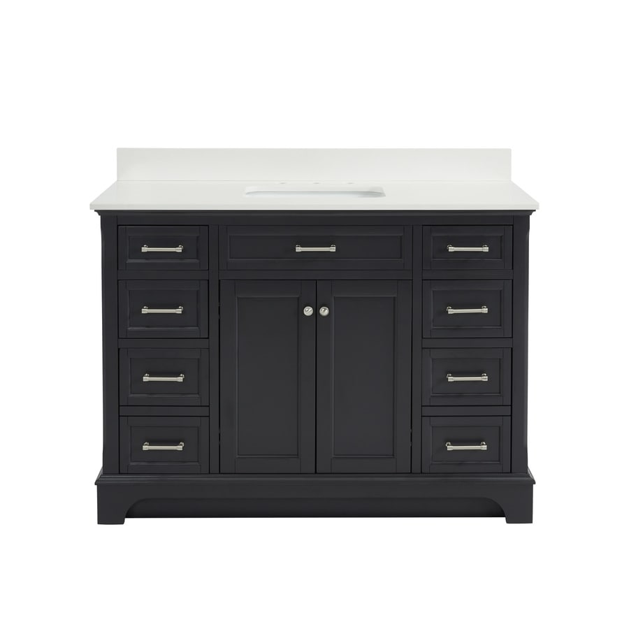 allen + roth Roveland Gray (Common: 48-in x 22-in) Undermount Single Sink Birch/Poplar Bathroom Vanity with Engineered Stone Top (Actual: 48-in x 22-in)