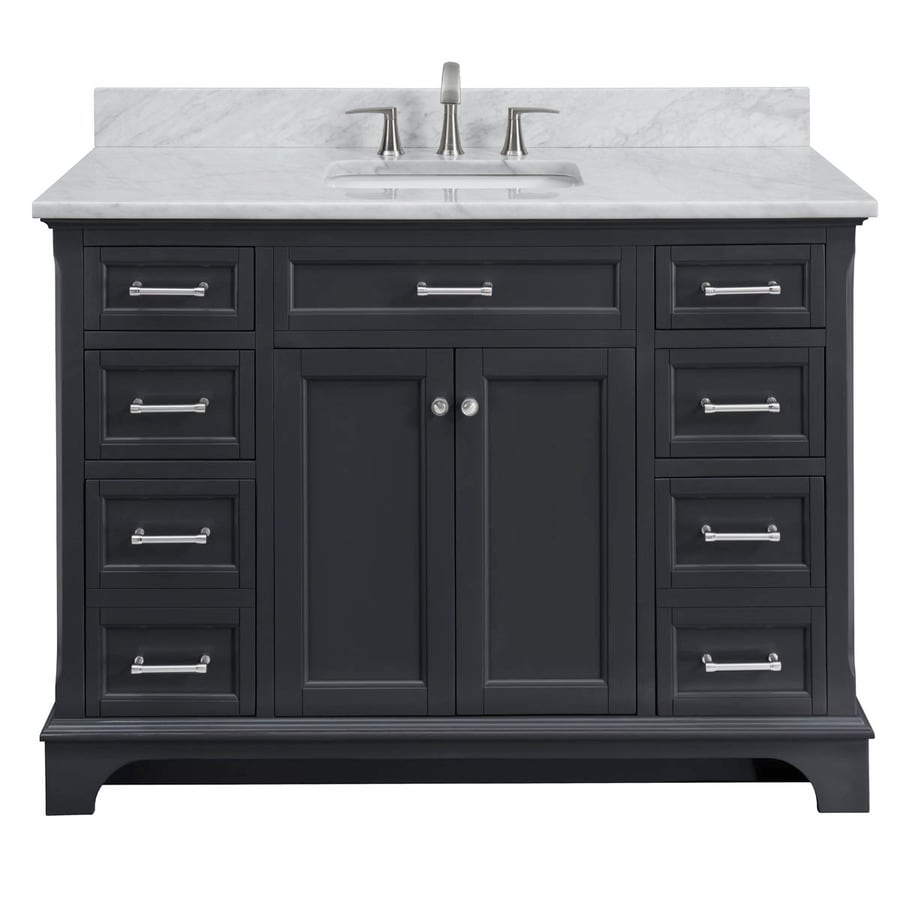 allen + roth Roveland Gray 48-in Undermount Single Sink Birch/Poplar Bathroom Vanity with Natural Marble Top