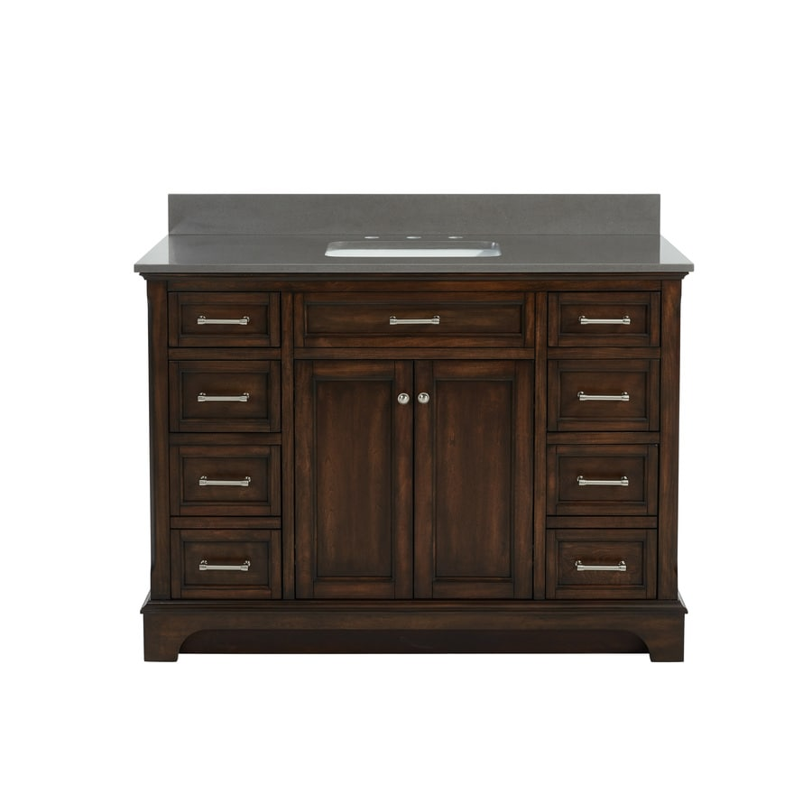allen + roth Roveland Mahogany 48-in Undermount Single Sink Birch/Poplar Bathroom Vanity with Engineered Stone Top