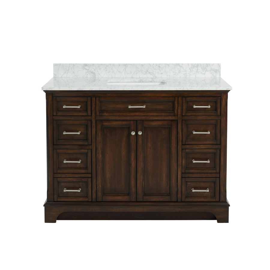 allen + roth Roveland Mahogany 48-in Undermount Single Sink Birch/Poplar Bathroom Vanity with Natural Marble Top