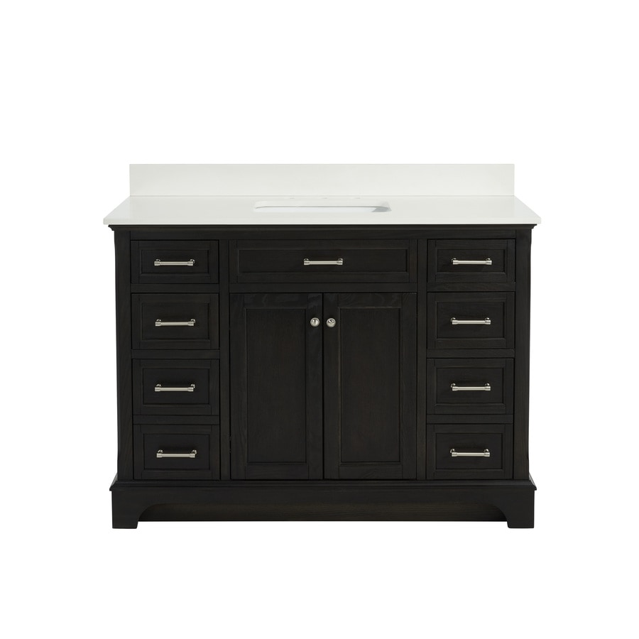 Allen roth roveland black oak undermount single sink - Lowes single sink bathroom vanity ...