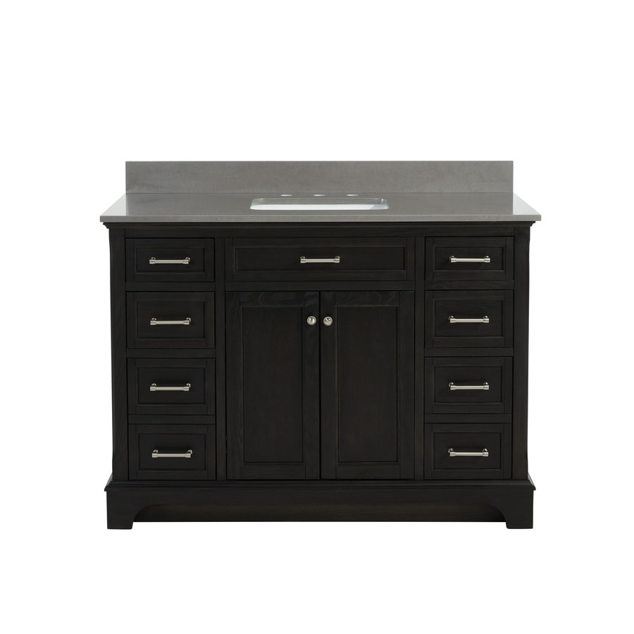 allen + roth Roveland Black Oak Undermount Single Sink Bathroom Vanity with Engineered Stone Top (Common: 48-in x 22-in; Actual: 48-in x 22-in)