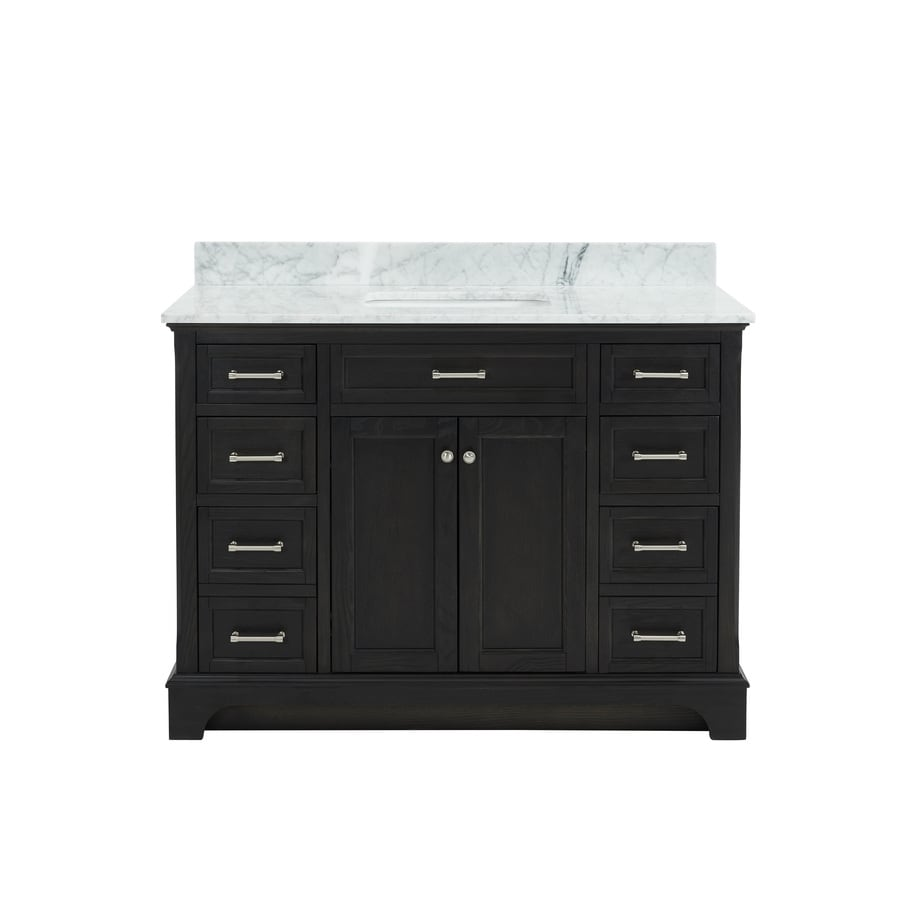 allen + roth Roveland Black Oak Undermount Single Sink Bathroom Vanity with Natural Marble Top (Common: 48-in x 22-in; Actual: 48-in x 22-in)