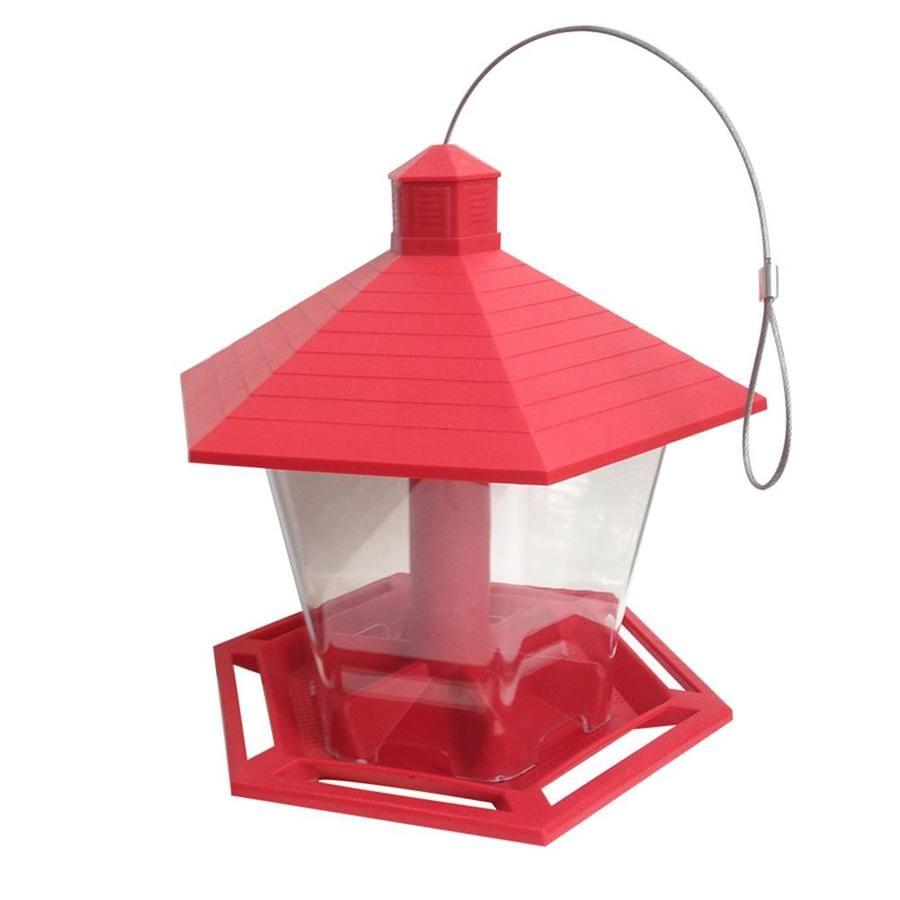 Marvelous Garden Treasures Red/Clear Plastic Hopper Bird Feeder
