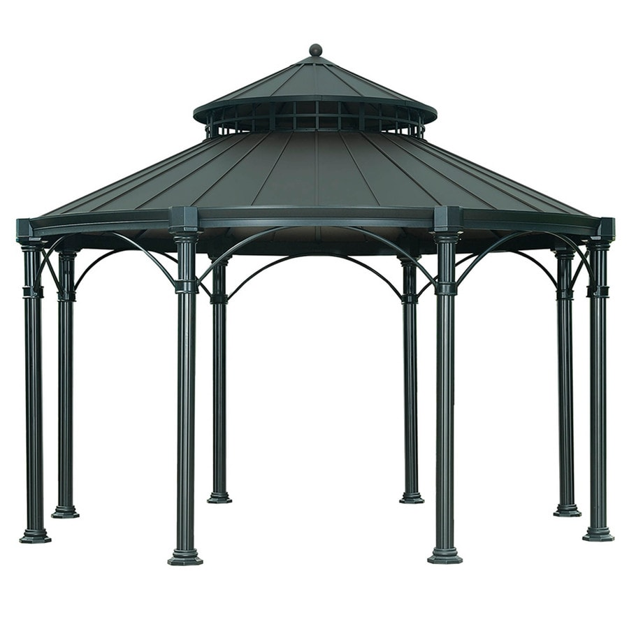 Sunjoy Black Steel Round Gazebo (Exterior: 14.29-ft x 14.29-ft; Foundation: 14.29-ft x 14.29-ft)