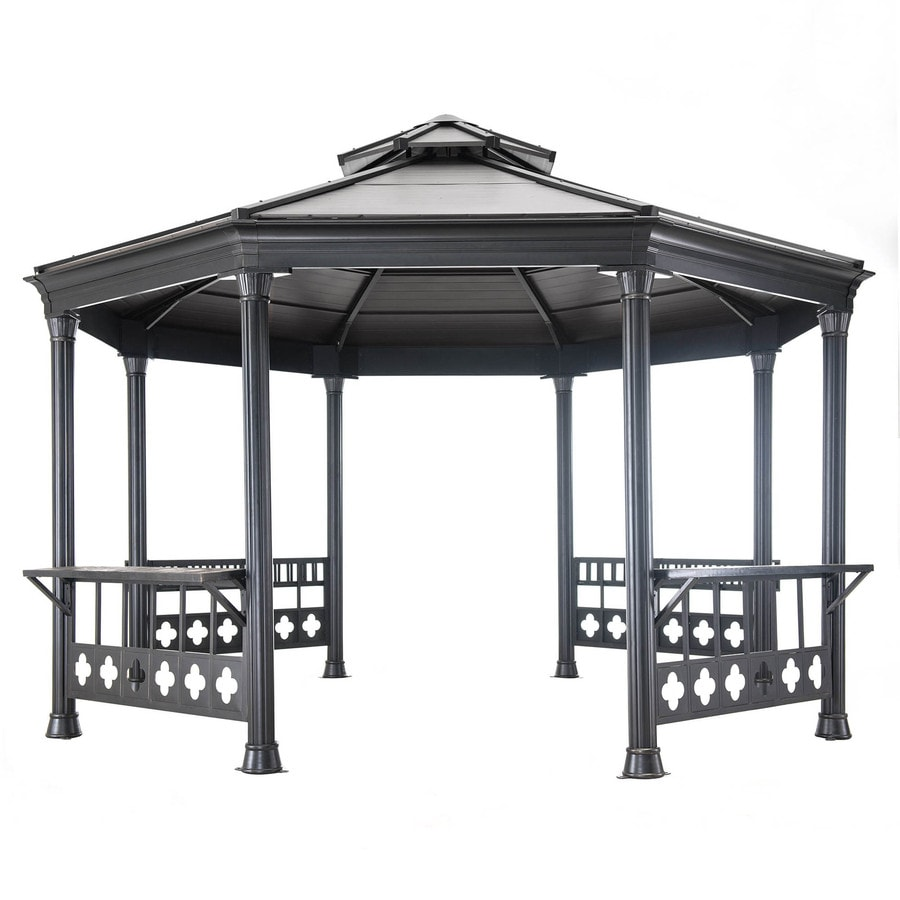 Sunjoy Black Steel Octagon Permanent Gazebo (Exterior: 14.08-ft x 13.08-ft; Foundation: 14.08-ft x 13.08-ft)
