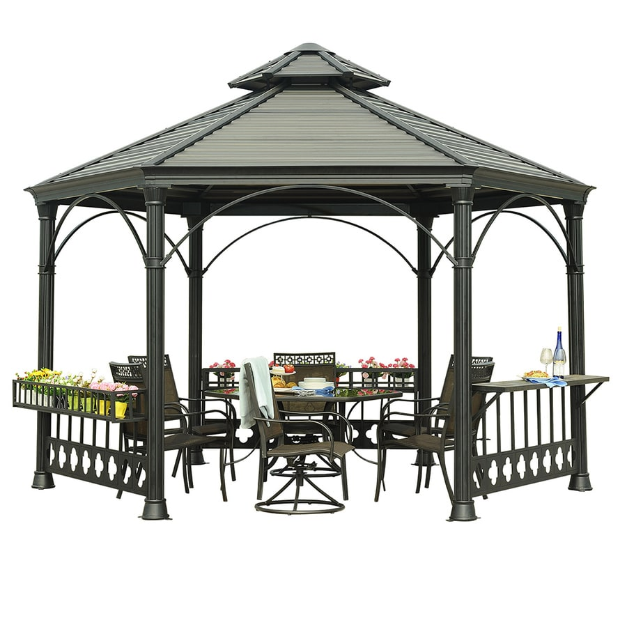 Sunjoy Black Hexagon Gazebo (Foundation: 12-ft x 13.7-ft)