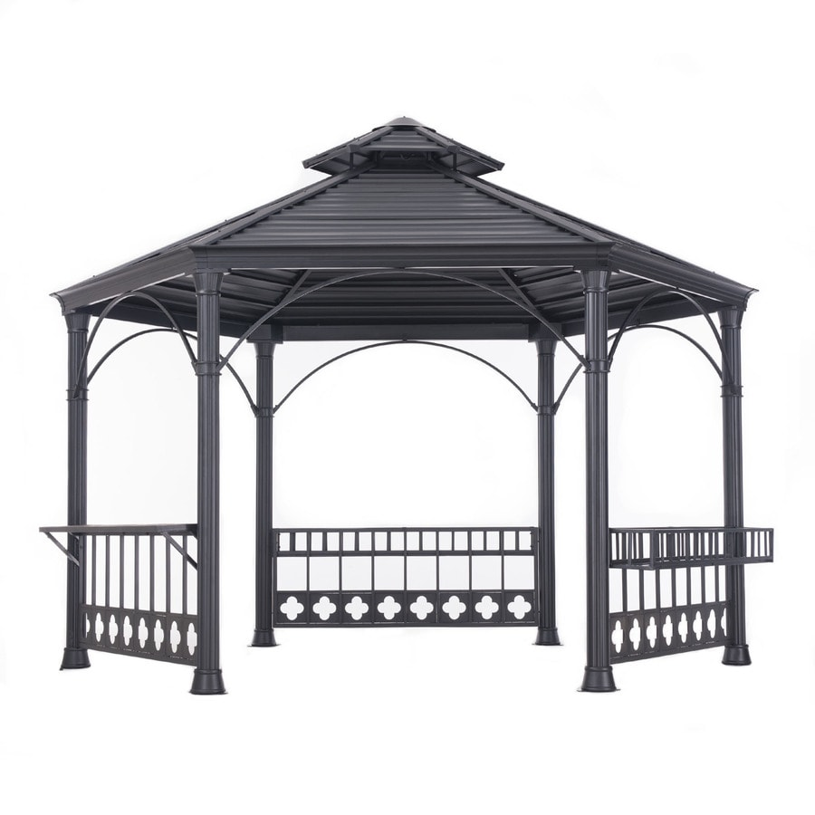 Sunjoy Black Steel Hexagon Gazebo (Exterior: 13.79-ft x 12-ft; Foundation: 13.79-ft x 12-ft)