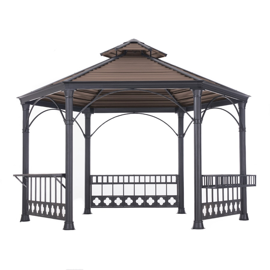 Sunjoy Copper Steel Hexagon Permanent Gazebo (Exterior: 13.79-ft x 12-ft; Foundation: 13.79-ft x 12-ft)