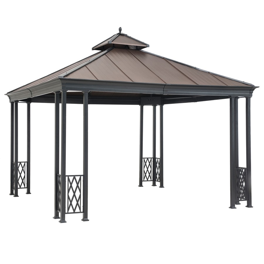 Sunjoy Black Steel Square Gazebo (Exterior: 12.08-ft x 12.08-ft; Foundation: 12.08-ft x 12.08-ft)