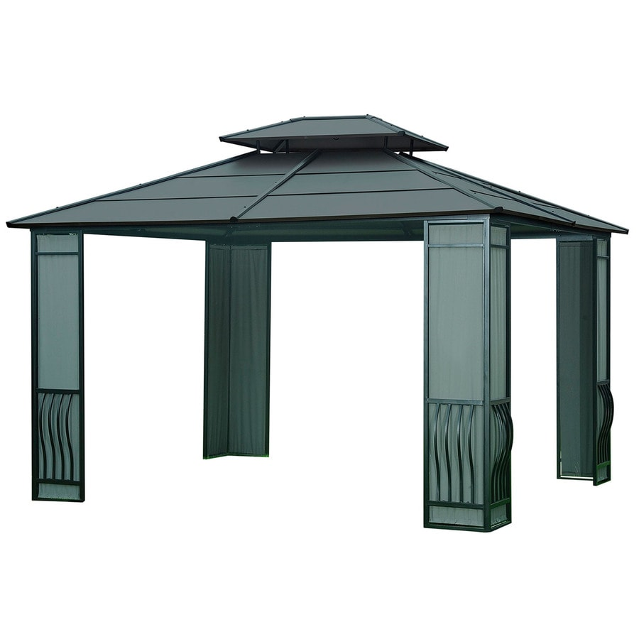 Shop sunjoy black steel rectangle permanent gazebo exterior 10 1 ft x 12 ft foundation - Build rectangular gazebo guide models ...