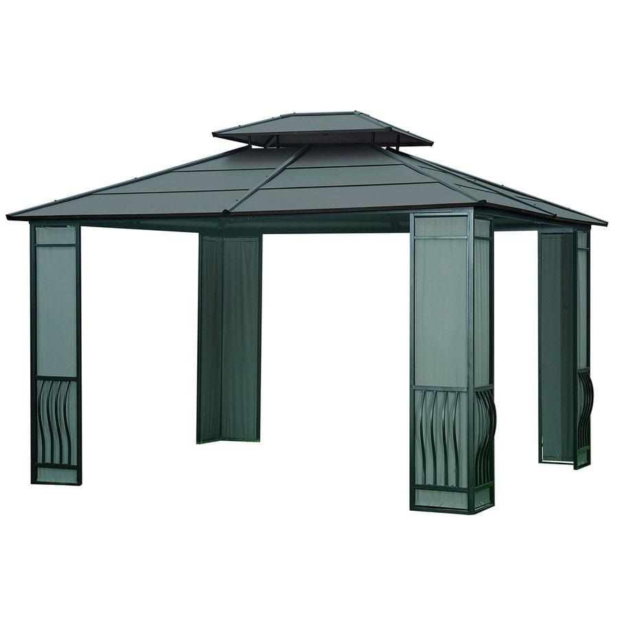 Sunjoy Black Steel Rectangle Gazebo (Exterior: 10.1-ft x 12-ft; Foundation: 10.09-ft x 12-ft)