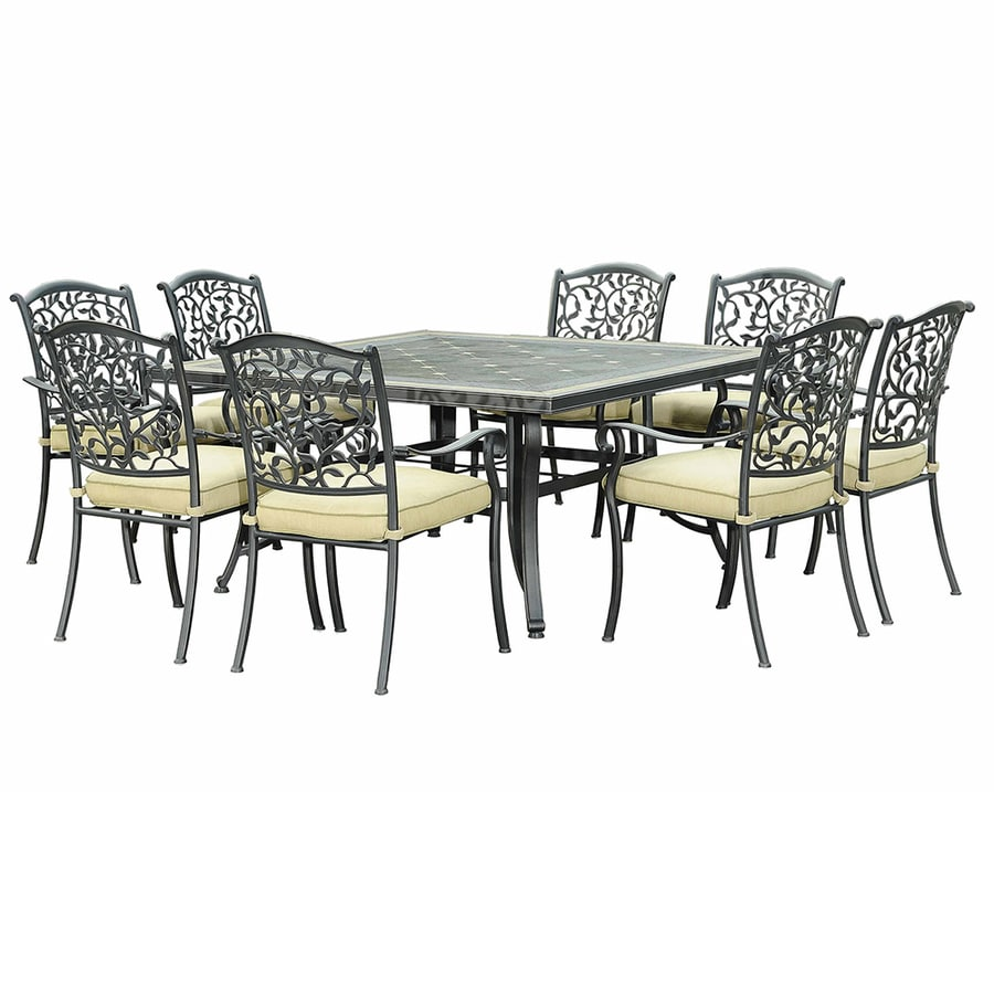 Shop Sunjoy 9 Piece Tile Patio Dining Set At