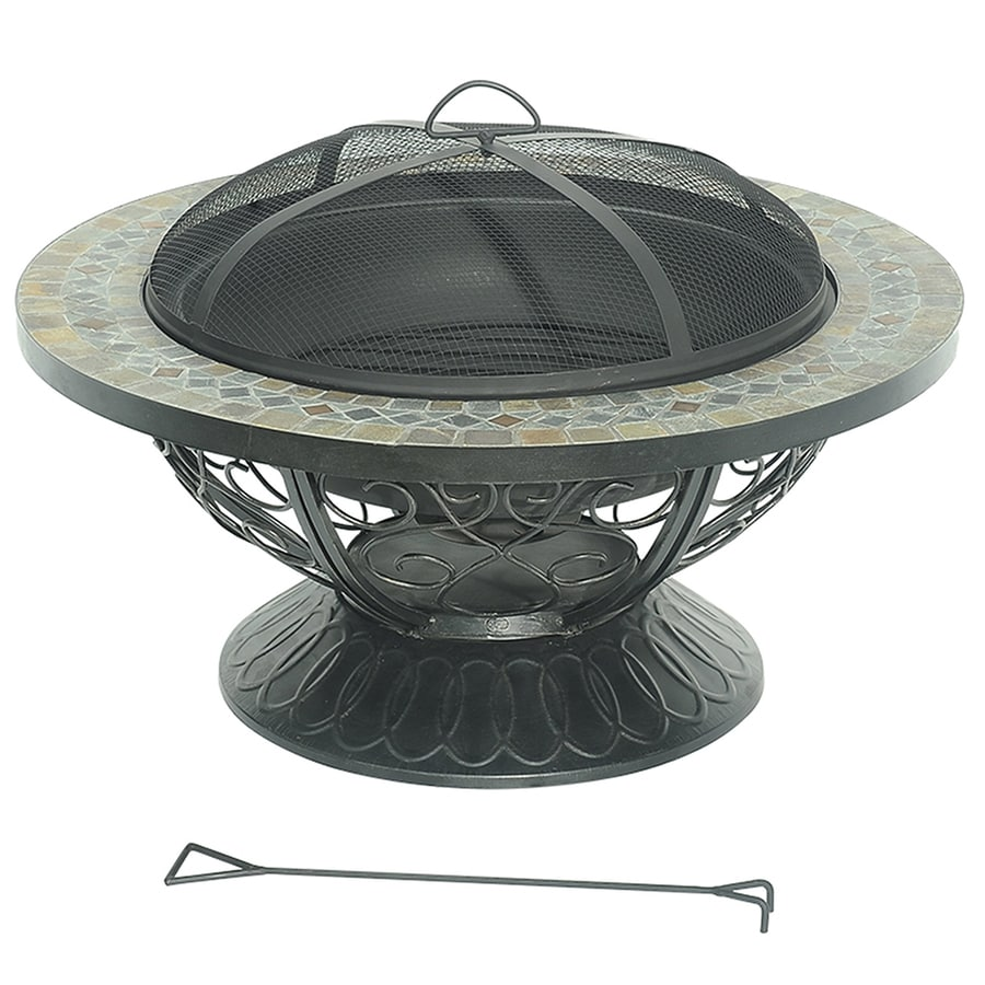 Sunjoy 30-in W Black Steel Wood-Burning Fire Pit