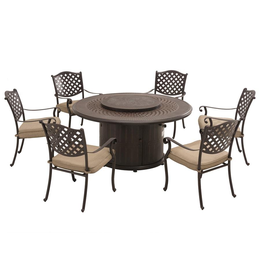 shop sunjoy 7 piece black aluminum dining patio dining set at lowes