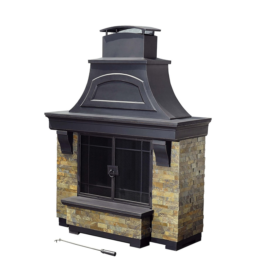 Sunjoy Black Steel Outdoor Wood Burning Fireplace