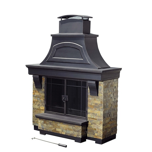 Sunjoy Black Steel Outdoor Wood-Burning Fireplace at Lowes.com on Quillen Steel Outdoor Fireplace id=47313