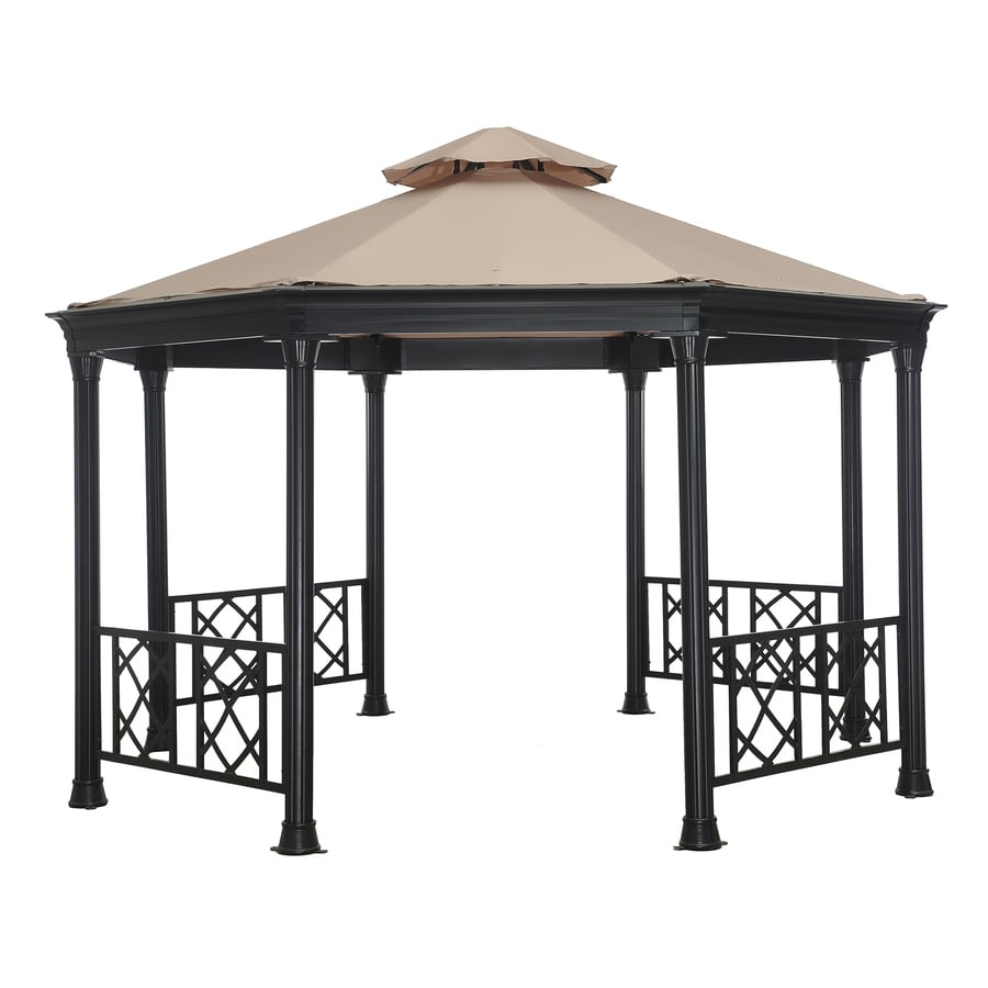 Shop sunjoy waverly black steel rectangle permanent gazebo for Outdoor furniture gazebo