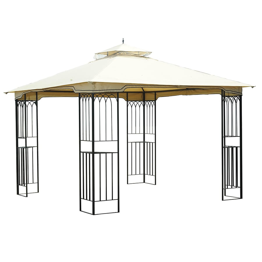 Sunjoy Black Square Gazebo (Foundation: 9.8-ft x 9.8-ft)