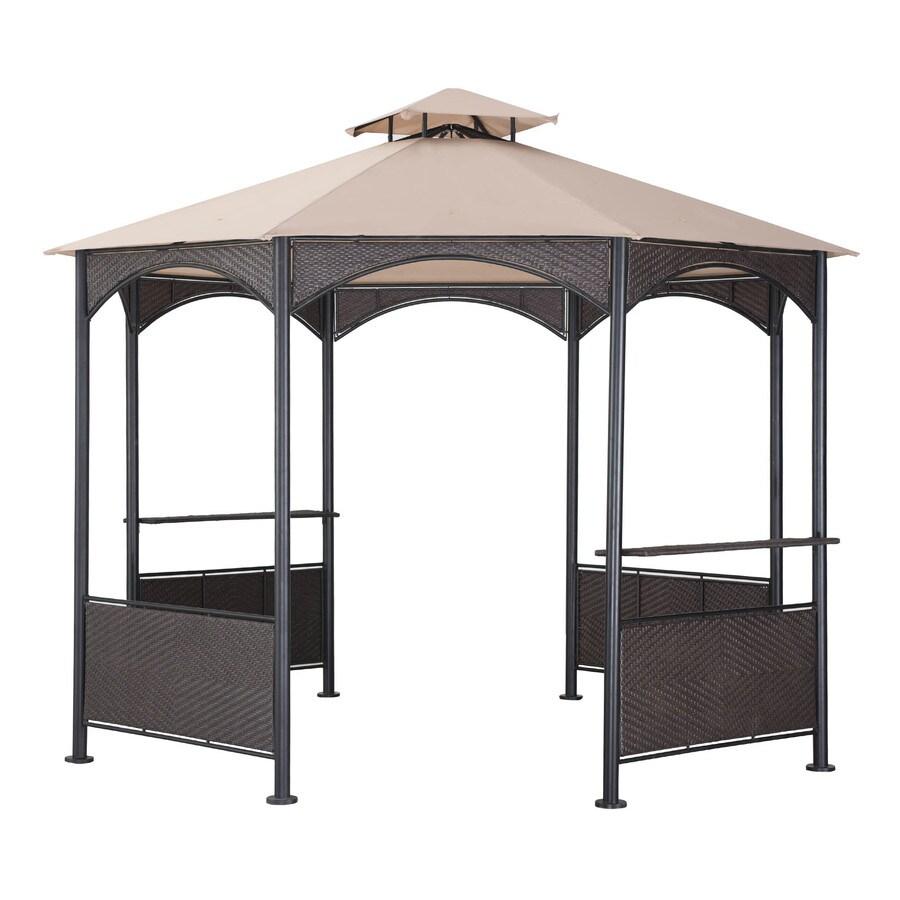 Sunjoy Beige Steel Octagon Permanent Gazebo (Exterior: 10-ft x 10-ft; Foundation: 10-ft x 10-ft)