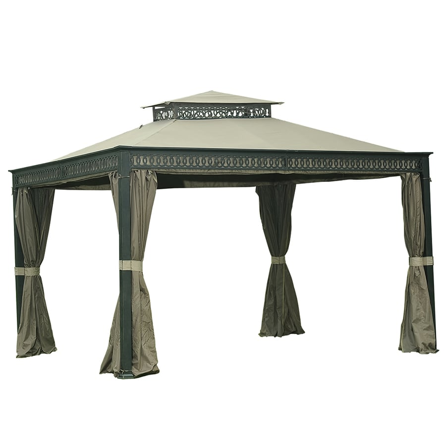 Sunjoy Black Rectangle Gazebo (Foundation: 10-ft x 12-ft)