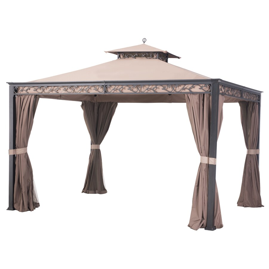 Sunjoy Briana Black Steel Rectangle Screened Gazebo (Exterior: 10-ft x 12-ft; Foundation: 12-ft x 10-ft)