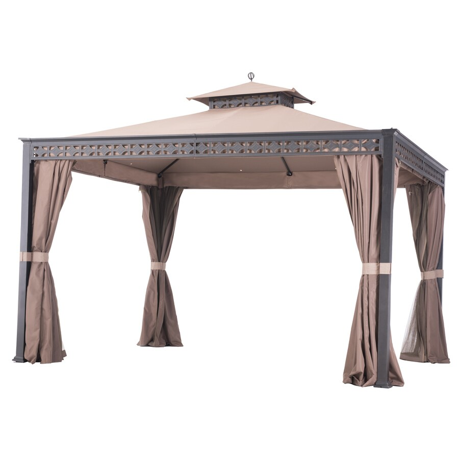 Sunjoy Black, Beige Resin Rectangle Permanent Gazebo (Exterior: 10-ft x 12-ft; Foundation: 10-ft x 12-ft)