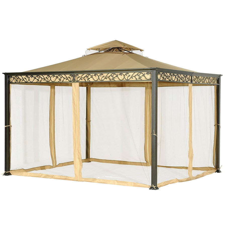 Shop sunjoy ayla black steel rectangle screen included permanent gazebo exterior 10 ft x 12 ft - Build rectangular gazebo guide models ...