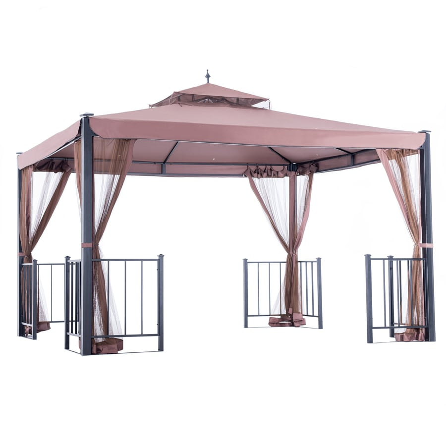 Shop sunjoy biscane black steel rectangle screen included permanent gazebo exterior 10 ft x 12 - Build rectangular gazebo guide models ...