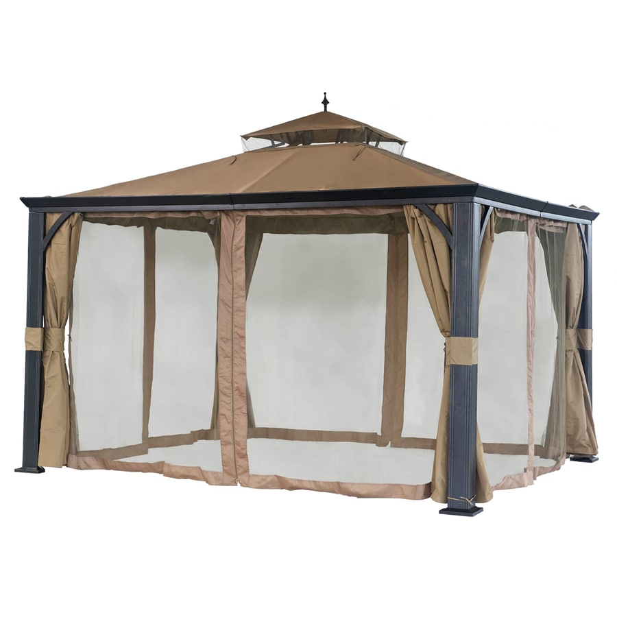 Sunjoy Monaco Black Steel Rectangle Screened Gazebo (Exterior: 10-ft x ...