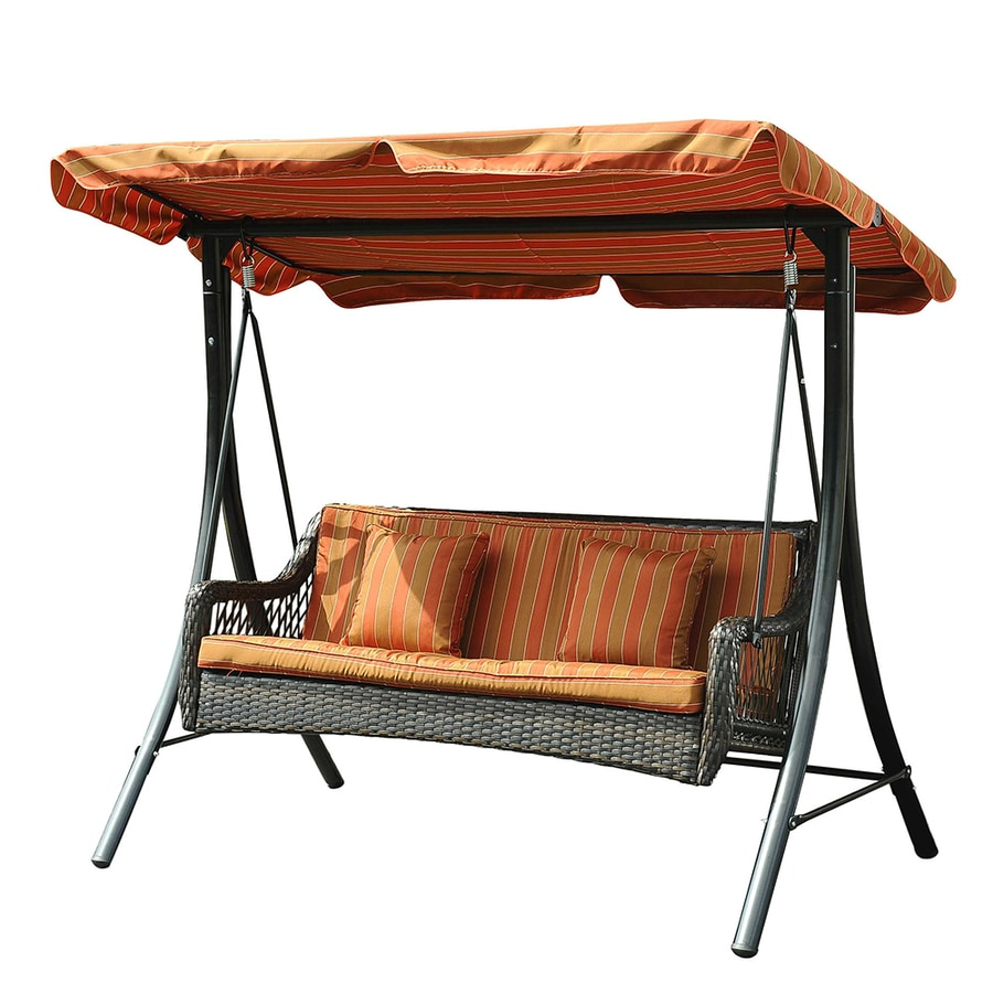 Sunjoy 3-Seat Steel Traditional Porch Swing - Shop Porch Swings & Gliders At Lowes.com