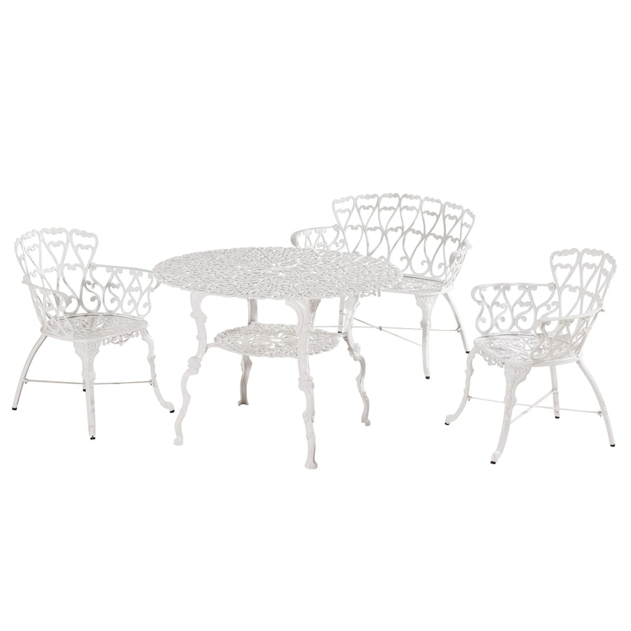 Sunjoy Arriva 4-Piece White Aluminum Bistro Patio Dining Set