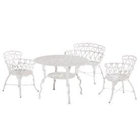 Sunjoy Arriva 4 Piece White Metal Frame Bistro Patio Dining Set