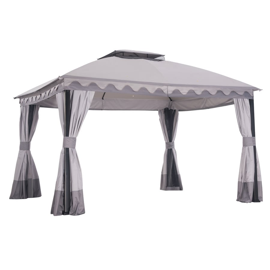 Sunjoy Beige Steel Rectangle Permanent Gazebo (Exterior: 10-ft x 12-ft; Foundation: 10-ft x 12-ft)