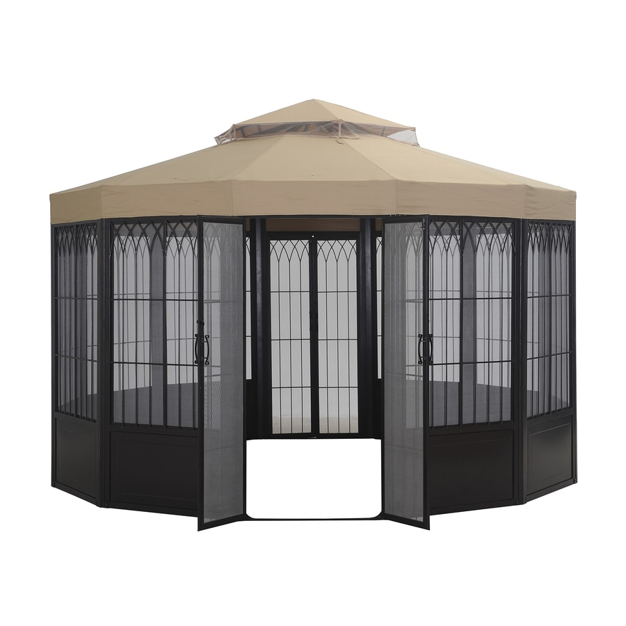 Sunjoy Forks Pavilion Black Steel Octagon Screen Included Permanent Gazebo (Exterior: 12-ft x 12-ft; Foundation: 12-ft x 12-ft)