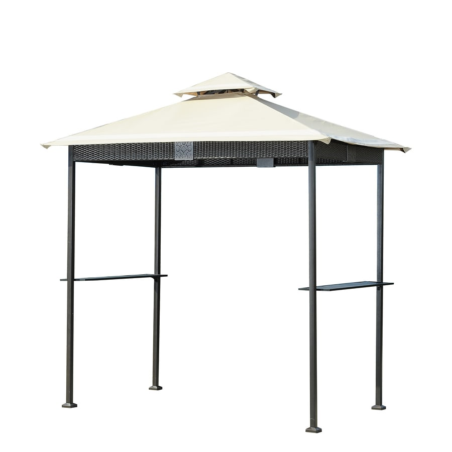 Sunjoy Wicker Tan Steel Rectangle Grill Gazebo (Exterior: 5-ft x 8-ft; Foundation: 8-ft x 5-ft)