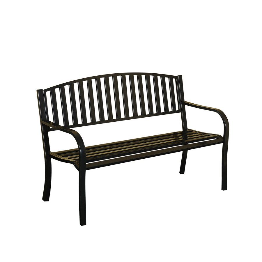 Sunjoy 21.5-in W x 50.5-in L Black Steel Patio Bench
